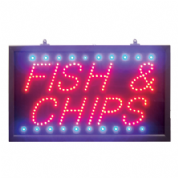 Large Red/blue Fish & Chips LED Sign.
